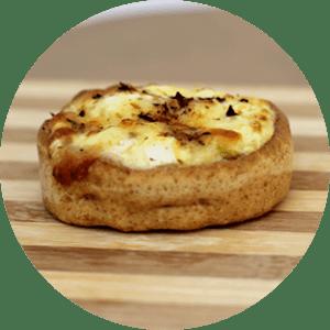 Quiches: Alho poró, palmito, queijo mussarela e ricota